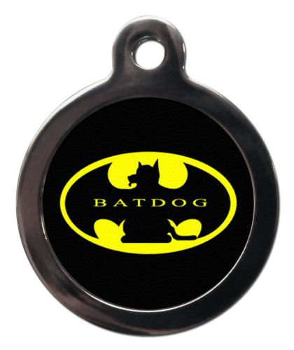 Pet ID Tag BAT DOG LOGO with writing  Personalised tag